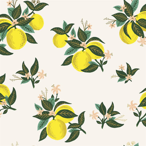 Primavera by Rifle Paper Company - Citrus Blossom in Lemon Metallic