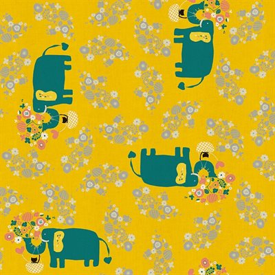 Naoco Miyagawa for Cotton + Steel - Kawaii Nakama - I Heart Elephants in Yellow