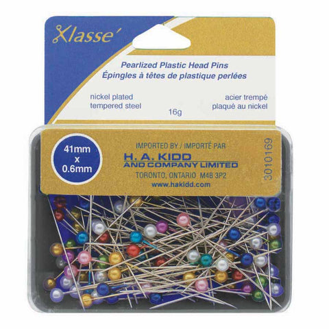Klasse Pearlized Plastic Head Pins - 41mm x 0.6mm
