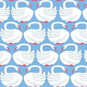 Loes van Ooosten for Cotton + Steel - On A Spring Day - Loving Swans in clearlake