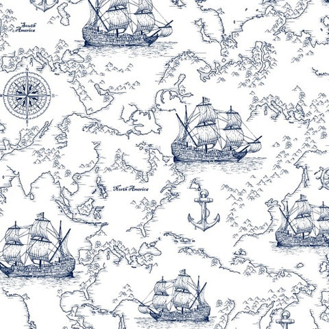 Studio E FAbrics - Sail Away on White