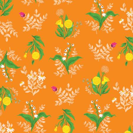 Heather Ross 20th Anniversary Collection - Orange Bouquet