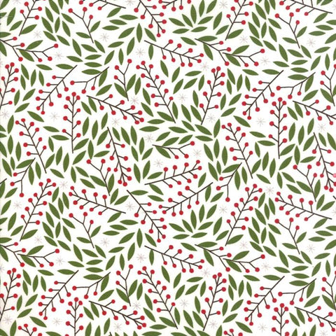 Merriment by Gingiber for Moda - Holly Berries in Snow