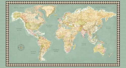 Meridian world map panel fabric spark meridian world map panel gumiabroncs Choice Image
