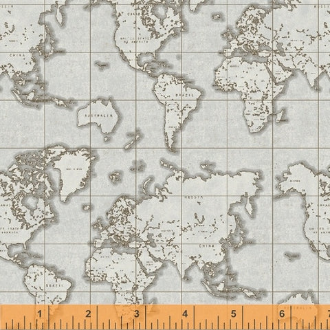 Whistler Studios Seven Seas - world Map in Grey