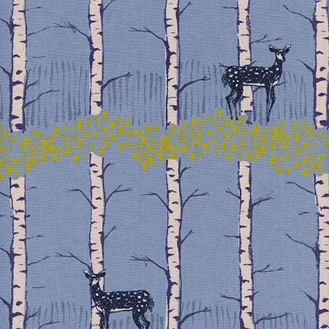 Cotton + Steel Frost - Fawn Forest in Blue