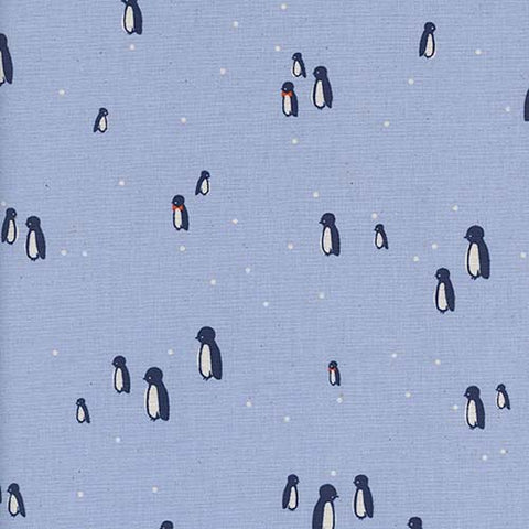 Cotton + Steel Frost - Penguin Party in Blue