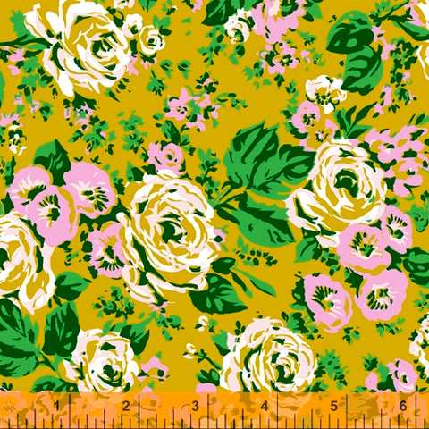 Posy by Annabel Wrigley - Bright Big Roses in Olive