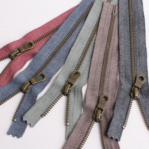 Marble Antique Gold Metal Zippers - Two sizes and Five colours
