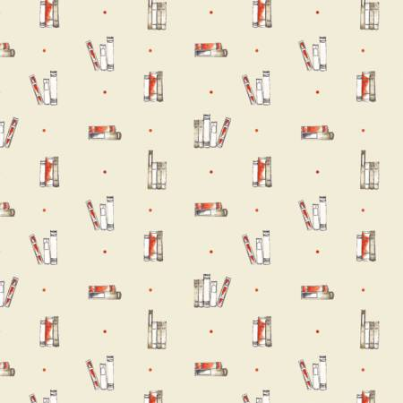 Camelot Fabrics - Oxford - Dotty Books in Cream