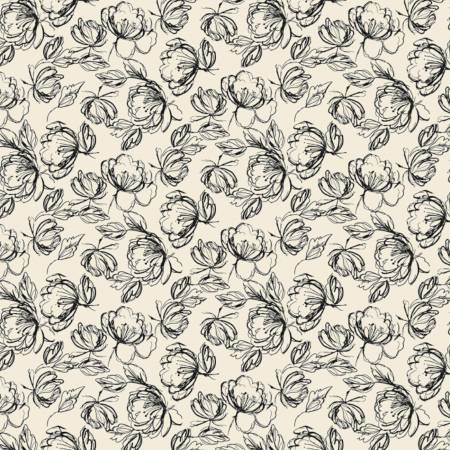Camelot Fabrics - Oxford - Etched Floral in Cream