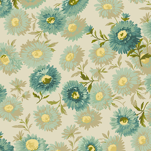 Edyta Sitar Secret Stash Neutrals - Daisies in Teal
