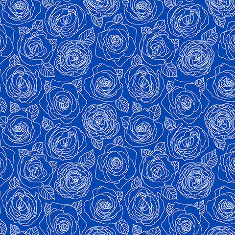 Mosaic by Shannon Brinkley - Rose Outlines in True Blue