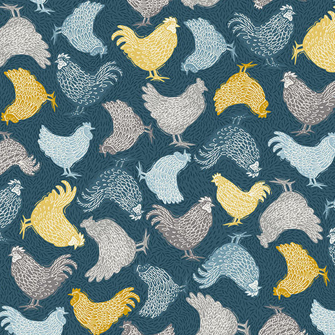 Grove by Makower - Chickens in Blue