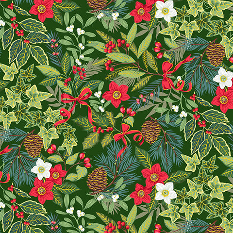 Makower Yuletide Foliage on Green