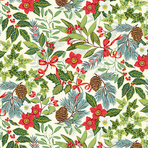 Makower Yuletide Foliage on Cream