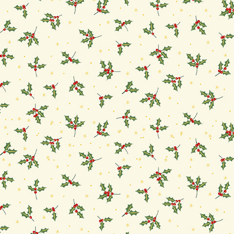 Makower Yuletide Holly on Cream