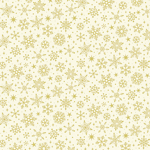 Makower Yuletide Metallic Snowflake on Cream