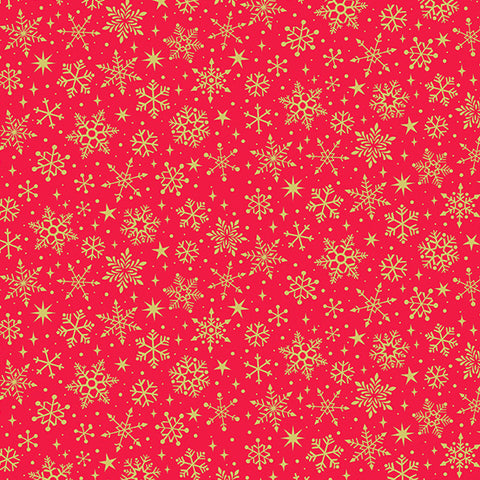 Makower Yuletide Metallic Snowflake on Red