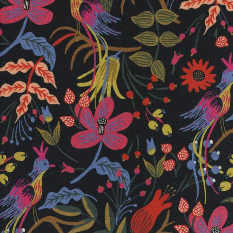 Les Fleurs by Rifle Paper Co - Folk Birds Black Cotton Canvas