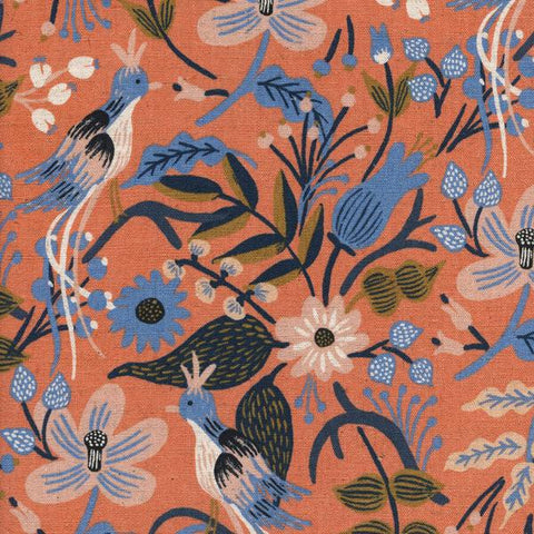 Les Fleurs by Rifle Paper Co - Folk Birds Peach Cotton Canvas Natural