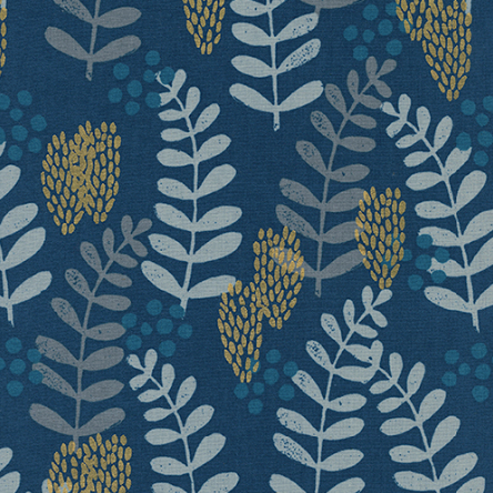 Jen Hewett for Cotton + Steel - Imagined Landscapes - Fern Dell Navy Metallic