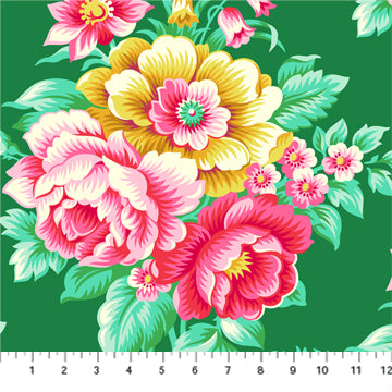 Figo True Kisses by Heather Bailey - Vintage Floral in Emerald