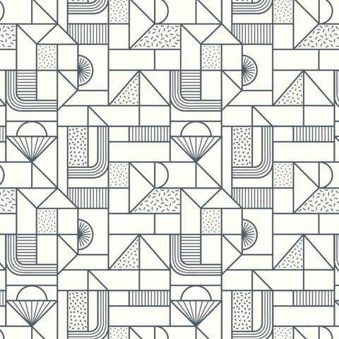 Lewis & Irene - All Over Geometric Navy on Cream