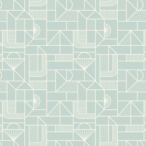 Lewis & Irene - All Over Geometric White on Soft Duck