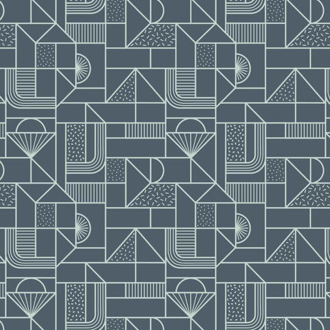 Lewis & Irene - All Over Geometric Soft Blue on Navy