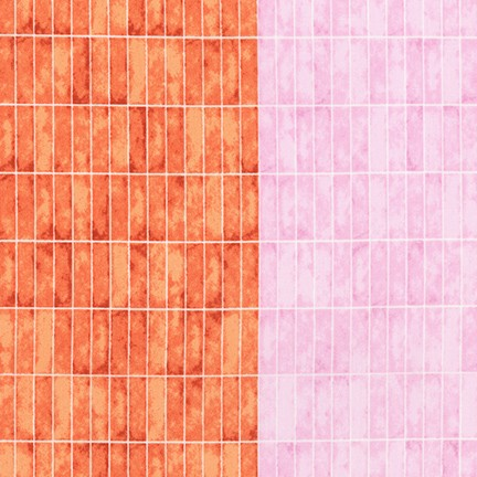 Carolyn Friedlander - Jetty - Tiles Single Border in Nectarine