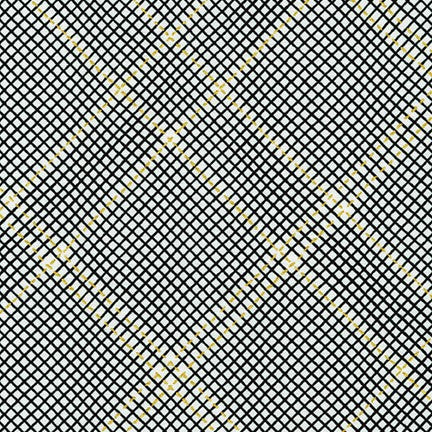 Carolyn Friedlander - Collection CF New Colours - Grid with single border in Onyx Metallic
