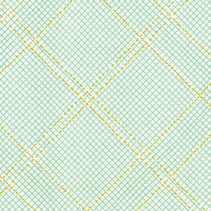 Carolyn Friedlander - Collection CF New Colours - Grid with single border in Seafoam Metallic