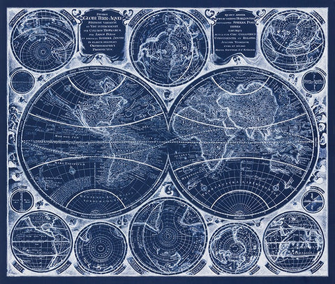Vintage Blueprints - World Map in Blueprint Panel