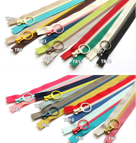 Tri-colour Circle Tab Zippers 20 cm from Japan