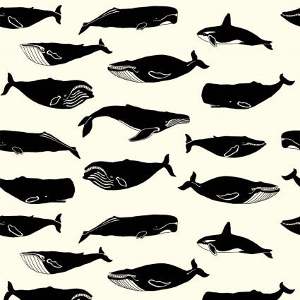 Inkwell Organic Cotton Poplin - Whale Pod in Cream