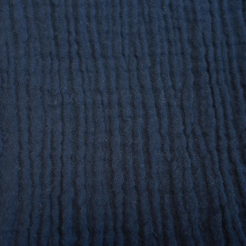 Crinkled Cotton Double Gauze - Navy