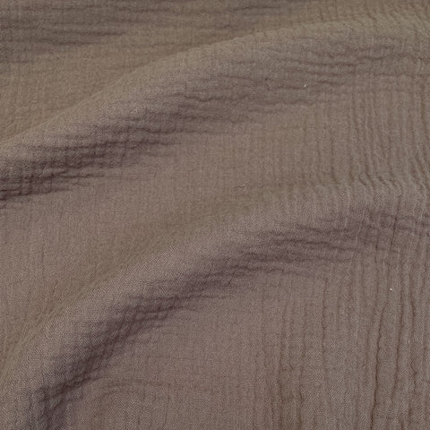 Crinkled Cotton Double Gauze - Taupe
