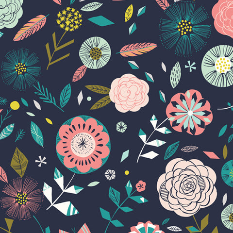 Dashwood Studios - Boho Meadow - Flowers on Navy