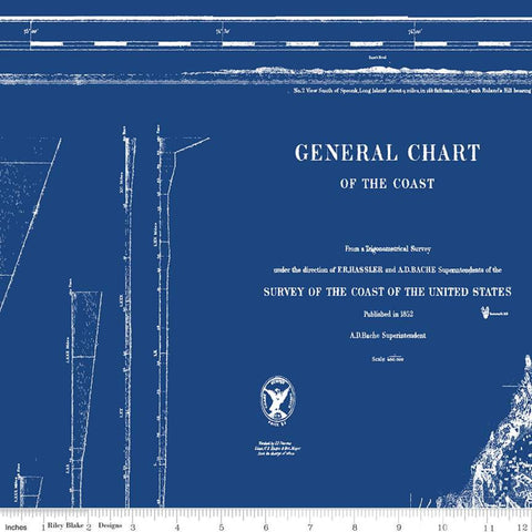 Nautical for Riley Blake - Nautical chart in blue - Panel