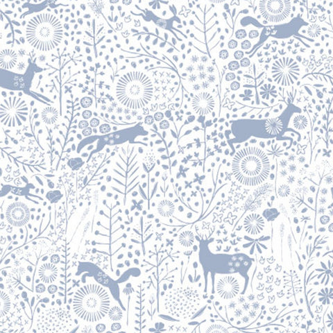 Camelot Fabrics - Meadow Haze by VIcky Yorke - Meadow Wildlife in Periwinkle