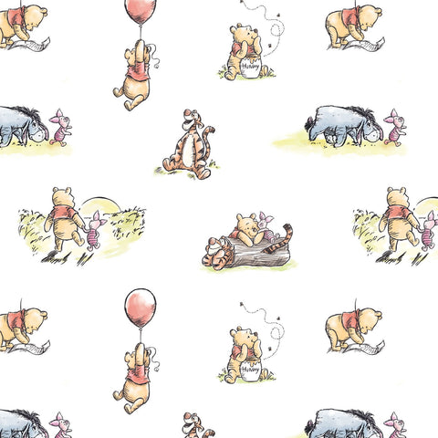 Camelot Fabrics - Winnie the Pooh - Storytime on White
