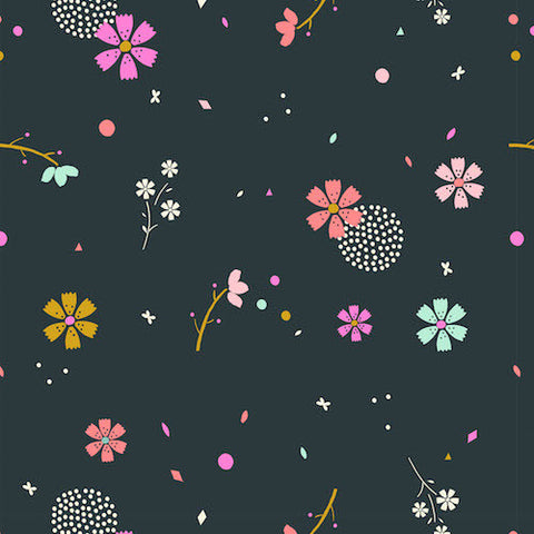 Cotton Candy Flower Confetti in Dark Green