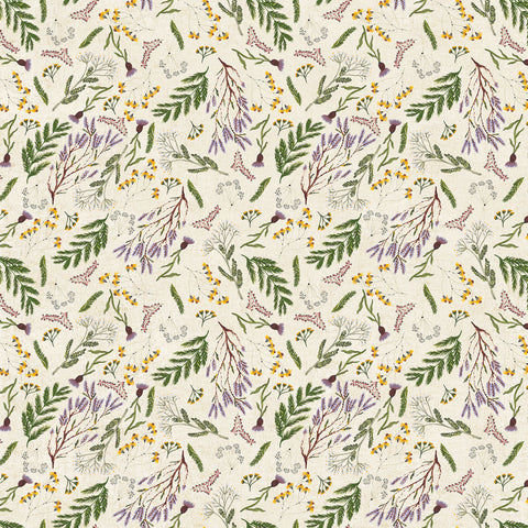 Wildflower cotton/linen - Flowers in Green Multi
