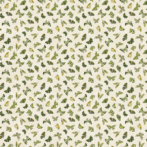 Wildflower cotton/linen - Butterflies in Green Multi