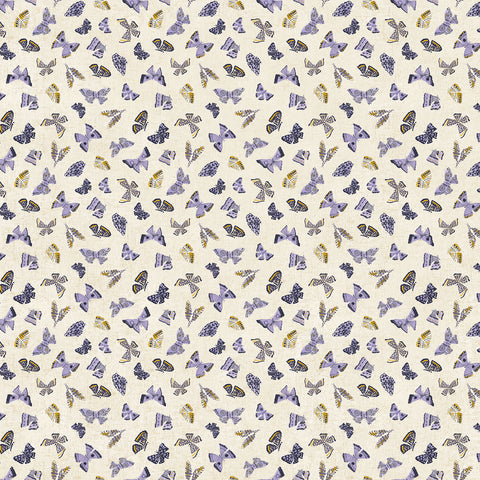 Wildflower cotton/linen - Butterflies in Purple Multi