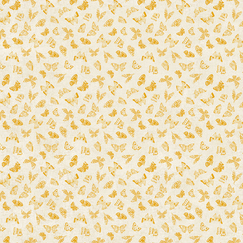 Wildflower cotton/linen - Butterflies in Yellow Multi