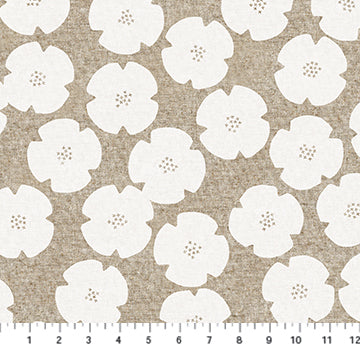 Figo Harmony Linen/Cotton blend - Flowers in White