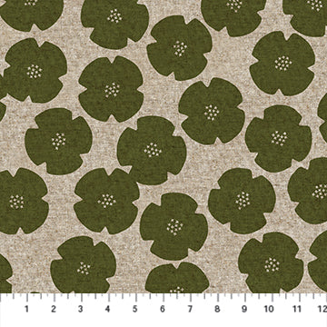 Figo Harmony Linen/Cotton blend - Flowers in Olive Green