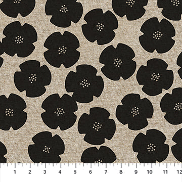 Figo Harmony Linen/Cotton blend - Flowers in Black
